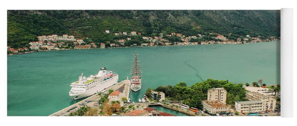 Gulf Of Kotor With Cruise Liner Yoga Mat