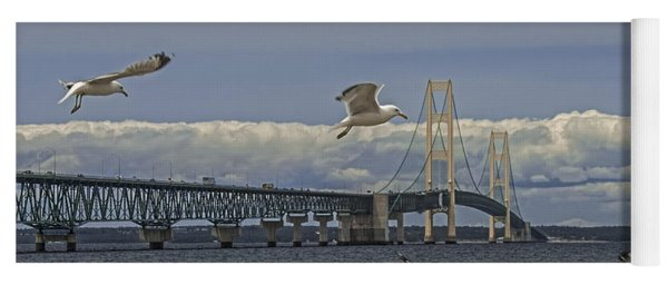 Gulls Flying By The Bridge At The Straits Of Mackinac Yoga Mat