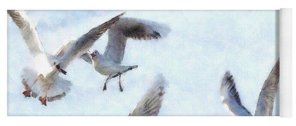 Gulls In Flight Watercolor Yoga Mat