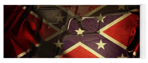 Gun And Confederate Flag Yoga Mat