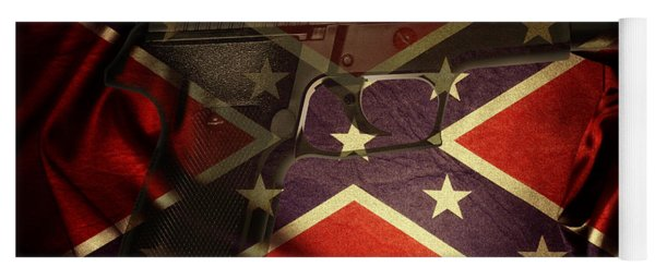Gun And Confederate Flag Yoga Mat