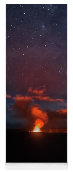Yoga Mat featuring the photograph Halemaumau Crater At Night by Susan Rissi Tregoning