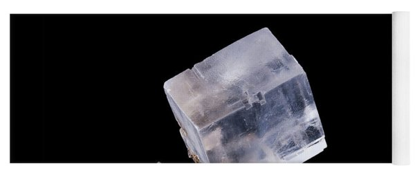 Halite Crystal Cluster Front View On Black Background Yoga Mat