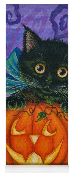 Halloween Black Kitty - Cat And Jackolantern Yoga Mat