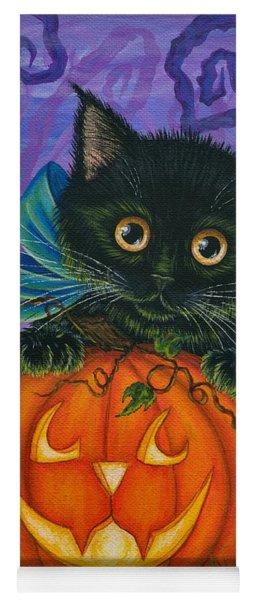 Halloween Black Kitty - Cat And Jackolantern Yoga Mat