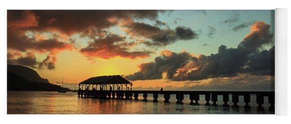 Hanalei Pier Sunset Panorama Yoga Mat