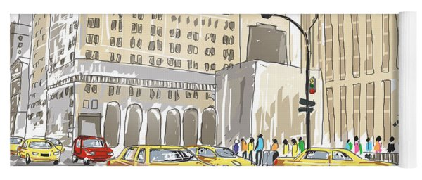 Hand Drawn Sketch Of A Busy New York City Street Yoga Mat