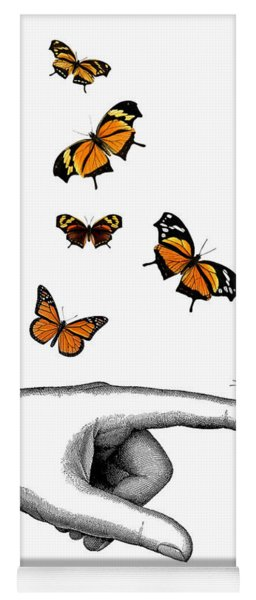 Hand With Orange Monarch Butterfly Yoga Mat