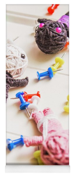 Handmade Knitted Voodoo Dolls With Pins Yoga Mat