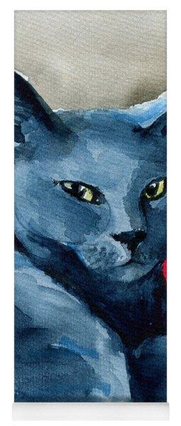 Handsome Russian Blue Cat Yoga Mat