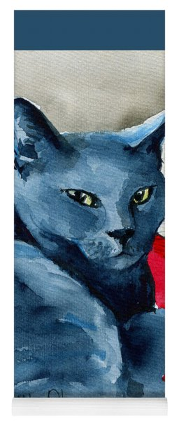 Handsome Russian Blue Cat Yoga Mat