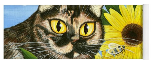 Hannah Tortoiseshell Cat Sunflowers Yoga Mat