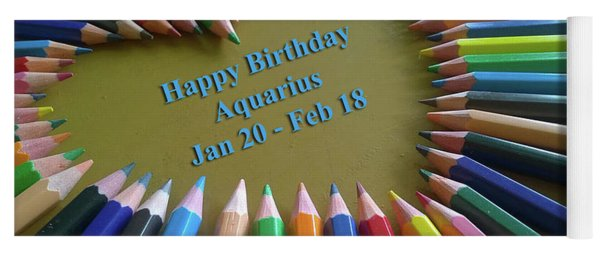 Happy Birthday Aquarius Yoga Mat