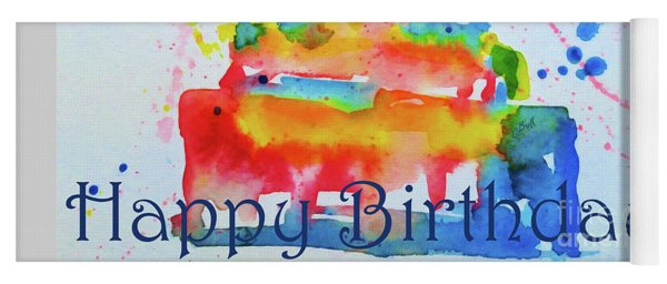 Yoga Mat featuring the painting Happy Birthday Blue Cake  by Claire Bull