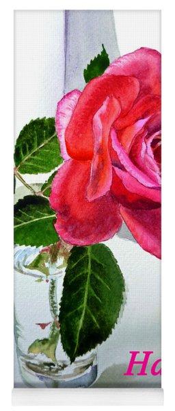 Happy Birthday Card Rose  Yoga Mat