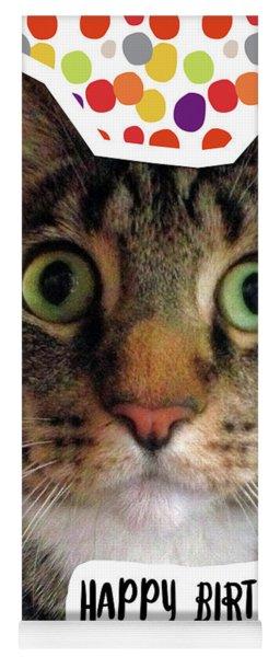 Happy Birthday Cat- Art By Linda Woods Yoga Mat