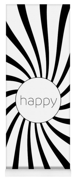 Happy - Black And White Swirl Yoga Mat