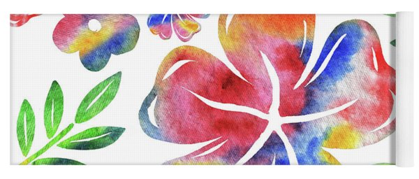 Happy Flowers Watercolor Silhouettes  Yoga Mat
