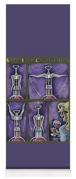 Yoga Mat featuring the drawing Happy Hour Calisthenics by Valerie White