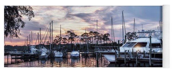 Happy Hour Sunset At Bluewater Bay Marina, Florida Yoga Mat