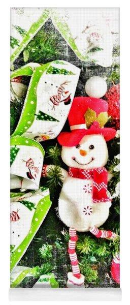 Happy Snowman Yoga Mat