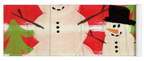Happy Snowmen- Art By Linda Woods Yoga Mat