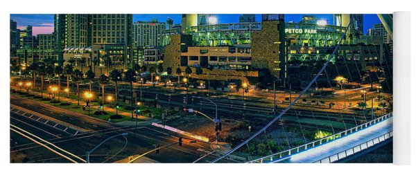 Harbor Drive Pedestrian Bridge And Petco Park At Night Yoga Mat