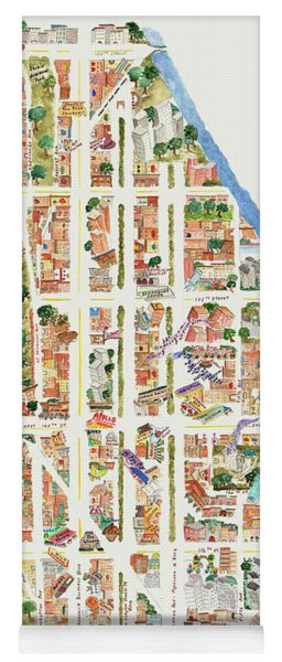 Harlem Map From 106-155th Streets Yoga Mat