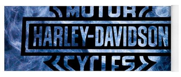 Harley Davidson Logo Blue Yoga Mat