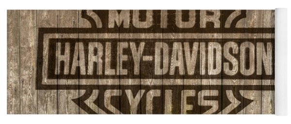 Harley Davidson Logo On Wood Yoga Mat