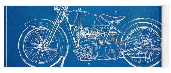Yoga Mat featuring the digital art Harley-davidson Motorcycle 1928 Patent Artwork by Nikki Marie Smith