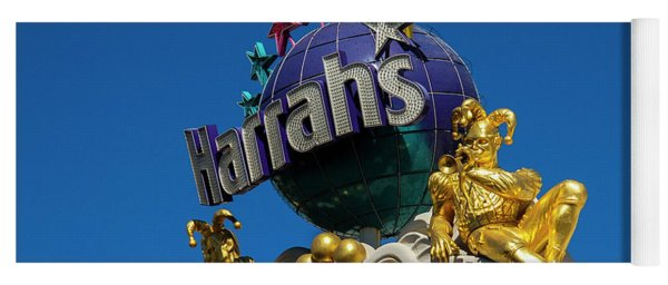 Harrah's Casino Sign On The Las Vegas Strip Yoga Mat