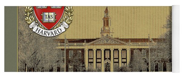 Harvard University Building Overlaid With 3d Coat Of Arms Yoga Mat