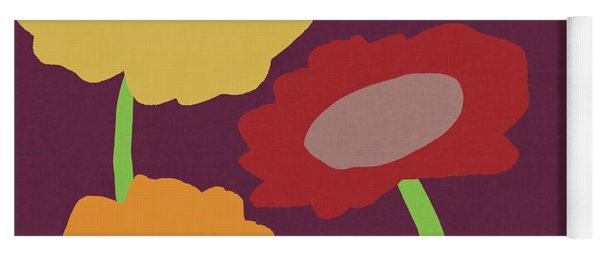 Harvest Flowers Purple- Art By Linda Woods Yoga Mat