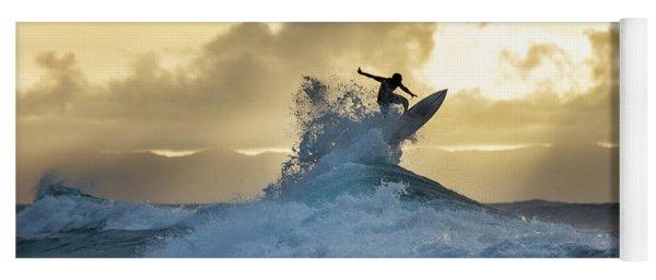 Hawaii Surfing Sunset Polihali Beach Kauai Yoga Mat