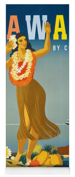 Hawaii Vintage Travel Poster Restored Yoga Mat
