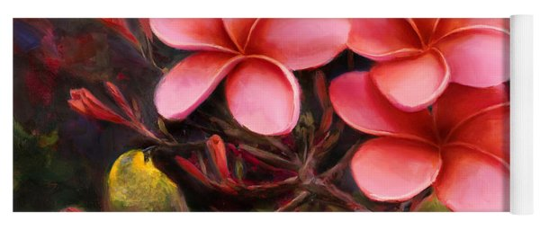 Hawaiian Pink Plumeria And Amakihi Bird Yoga Mat