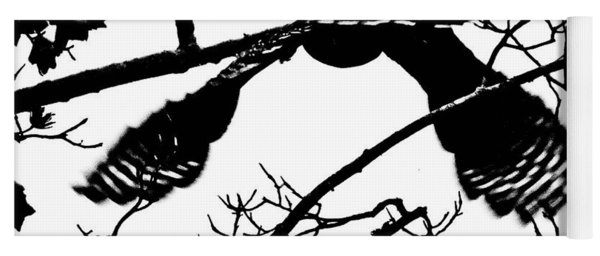 Hawk In Flight Black And White Yoga Mat
