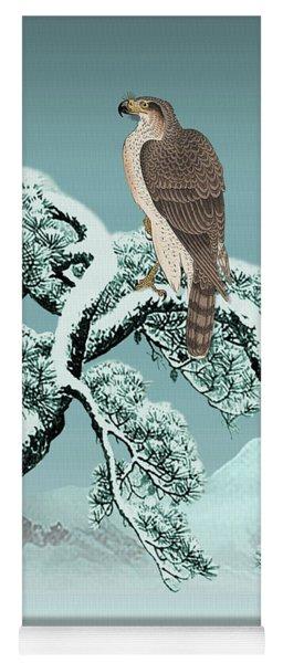 Hawk On Snowy Pine Yoga Mat