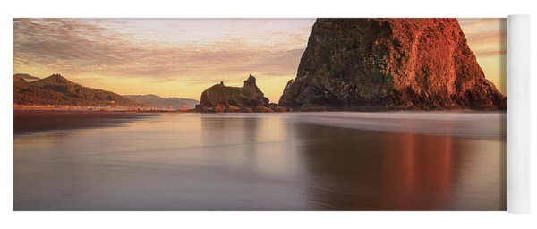 Yoga Mat featuring the photograph Haystack Rock Sunset by Adam Romanowicz