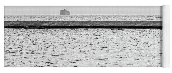 Hazy Car Ferry Coming Into Port At Ludington Yoga Mat