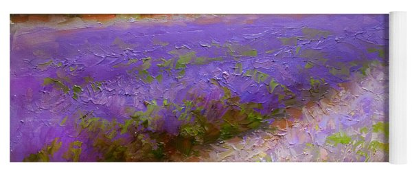 Impressionistic Lavender Field Landscape Plein Air Painting Yoga Mat