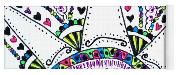 Yoga Mat featuring the drawing Heart Hugs by Carole Brecht