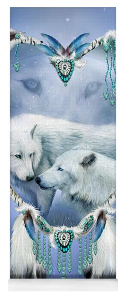 Yoga Mat featuring the mixed media Heart Of A Wolf 3 by Carol Cavalaris