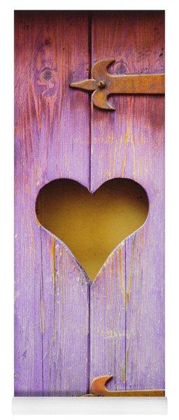 Heart On A Wooden Window Yoga Mat