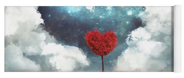 Heart Tree With Heart Cloud Yoga Mat