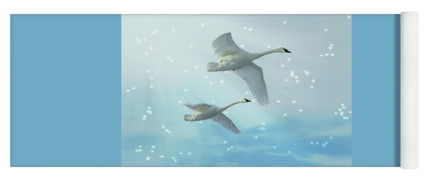 Yoga Mat featuring the photograph Heavenly Swan Flight by Patti Deters