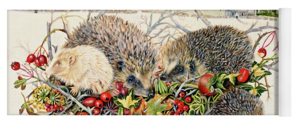 Hedgehogs In Hedgerow Basket Yoga Mat