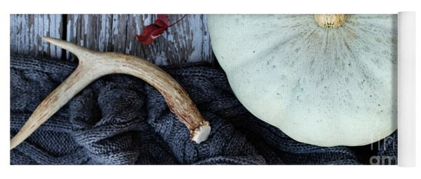 Heirloom Pumpkins Winter Scarf And Antlers Yoga Mat