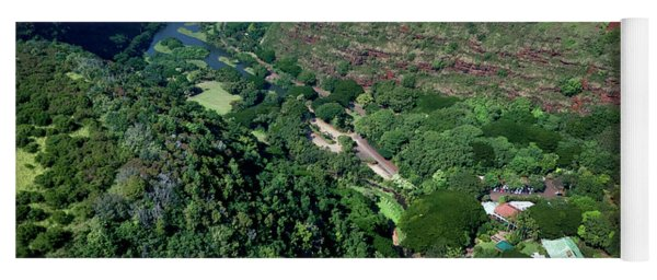Helicopter Overview Of Waimea Valley On The North Shore Of Oahu, Yoga Mat